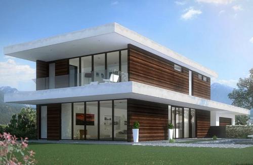 En el primer piso podemos apreciar el living comedor la for Casa moderna 5 dormitorios