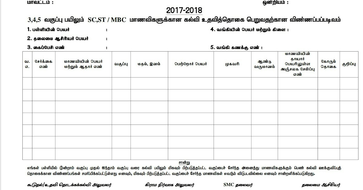Sc,St & Mbc Scholarship Form - Primary : ~ All Forms For Teachers