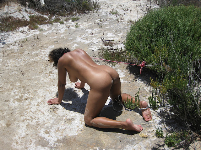Femme soumise tenue en laisse à poil (petgirl)