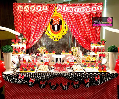 Beautiful Minnie Mouse Dessert Buffet set-up