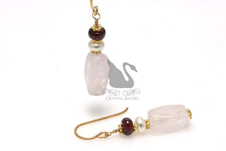 Garnet Rose Quartz Gemstone Beaded Earrings (E183) -Marsala Pantone's Color of the Year 2015