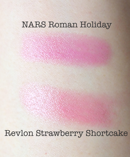 NARS Roman Holiday Revlon Strawberry Shortcake Comparison Swatch