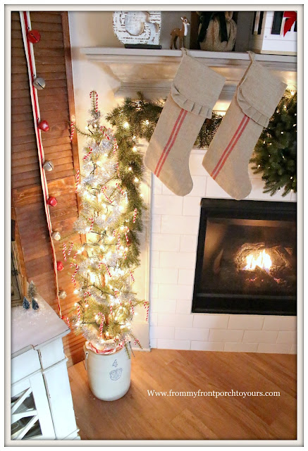 French Country -Farmhouse- Christmas Mantel-Pencil Tree In Vintage Crock-Pipe Cleaner Candy Canes-Stripe Grain Sack Stockings-From My Front Porch To Yours-