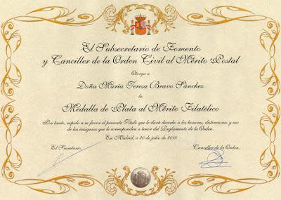 Título de la Medalla de Plata al Mérito Filatélico