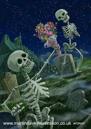 Romantic Valentine Skeletons in Graveyard digital painting