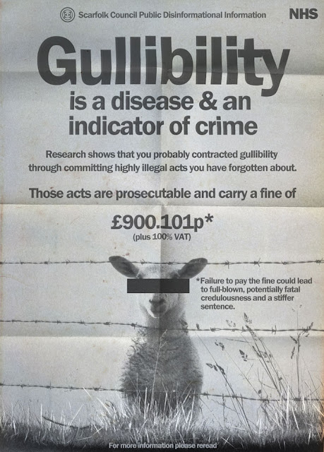 """Poster labeled """"gullibility is a disease & an indicator of crime"""" with a sheep on the cover with censored out eyes"""