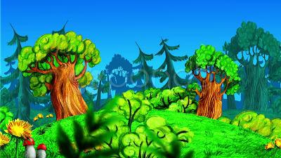 dibujos, bosque, dibujos animados