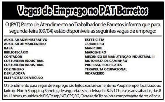VAGAS DE EMPREGO DO PAT BARRETOS-SP PARA 09/04/2018 (SEGUNDA-FEIRA)