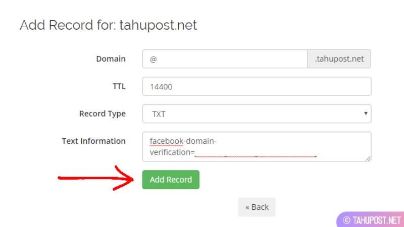 Tambahkan DNS Record Baru
