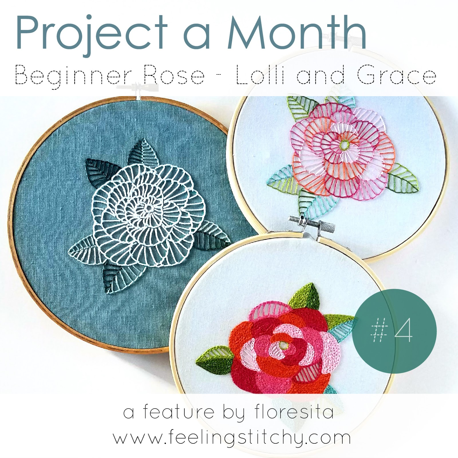 Project a Month 4 Beginner Rose pattern by Lolli and Grace as featured by floresita on Feeling Stitchy