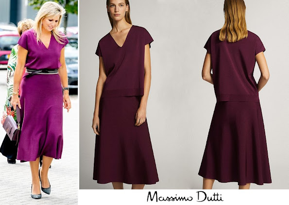 Queen Maxima wore Massimo Dutti total look v-neck sweater and total look flared skirt