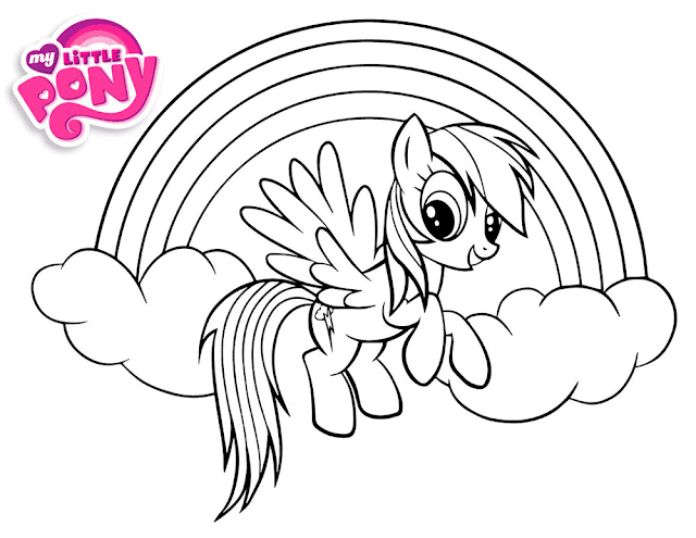 Gambar Mewarnai Rainbow Dash Untuk Anak Paud Dan Tk