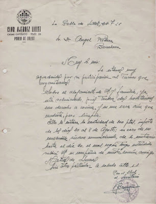 Carta de Joan Barnola a Ángel Ribera, 1955