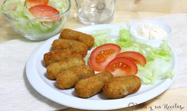 Croquetas de pollo, restos de carne del cocido. Julia y sus recetas