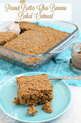 Peanut Butter Chai Banana Baked Oatmeal, shared by The Frugal Foodie Mama at The Clever Chicks Blog Hop