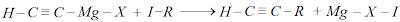 obtenção de um alquino, através de um composto de grignard do acetileno com haletos de alquilo
