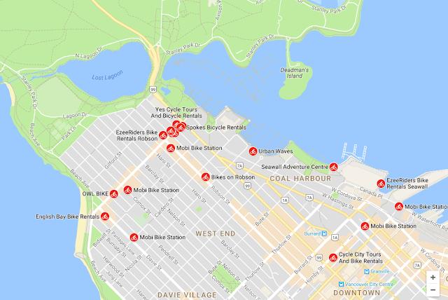 Der er et stort udvalg af steder, hvor du i Vancouver kan leje cykler.