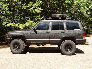 Bedliner paint job on Jeep Cherokee