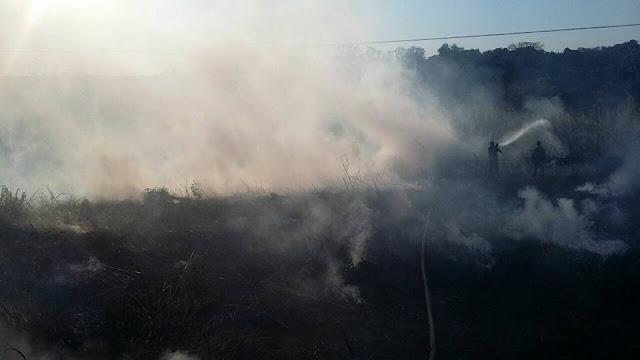 Bombeiros de Pinhal tentam conter incêndio em vegetação natural na vicinal Pinhal x Jacutinga