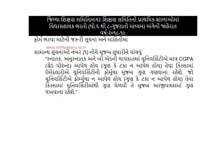 New instructions about Vidyasahayak bharti form fill up : About university CGPA