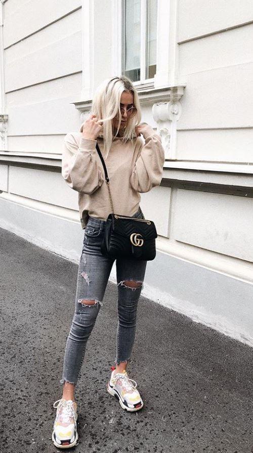 Balenciaga Triple S Sneakers, Gucci Marmont Shoulder Bag