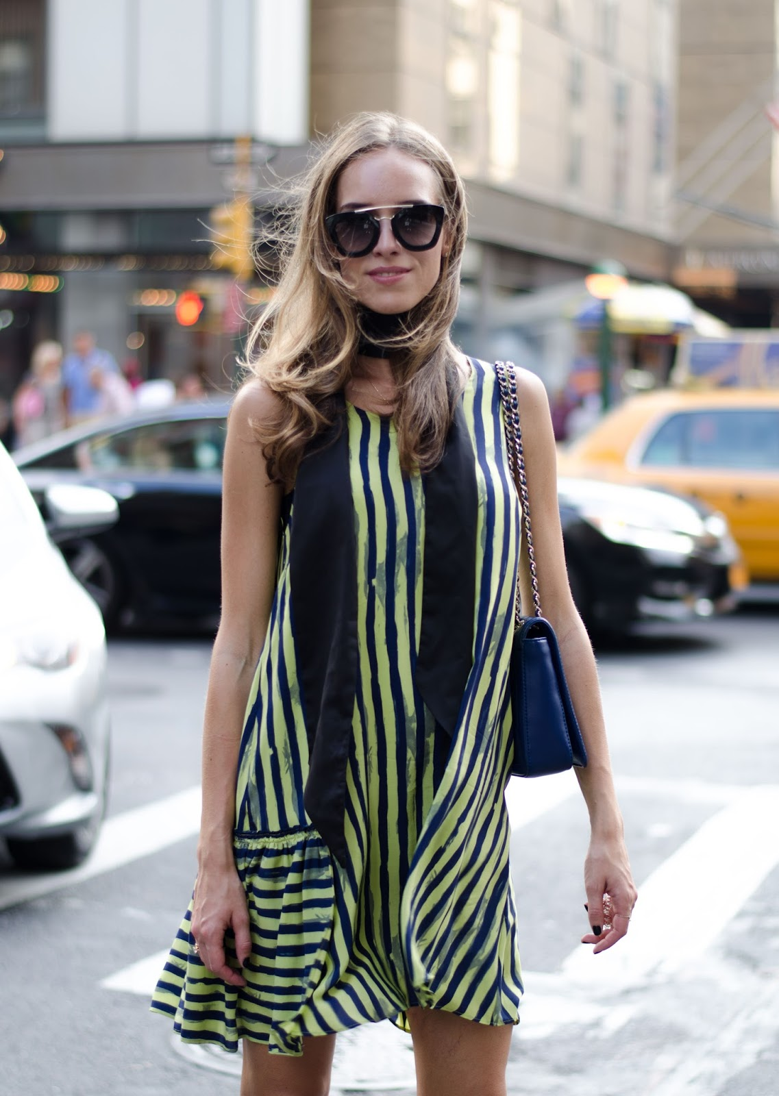 striped silk mini dress neck scarf new york outfit