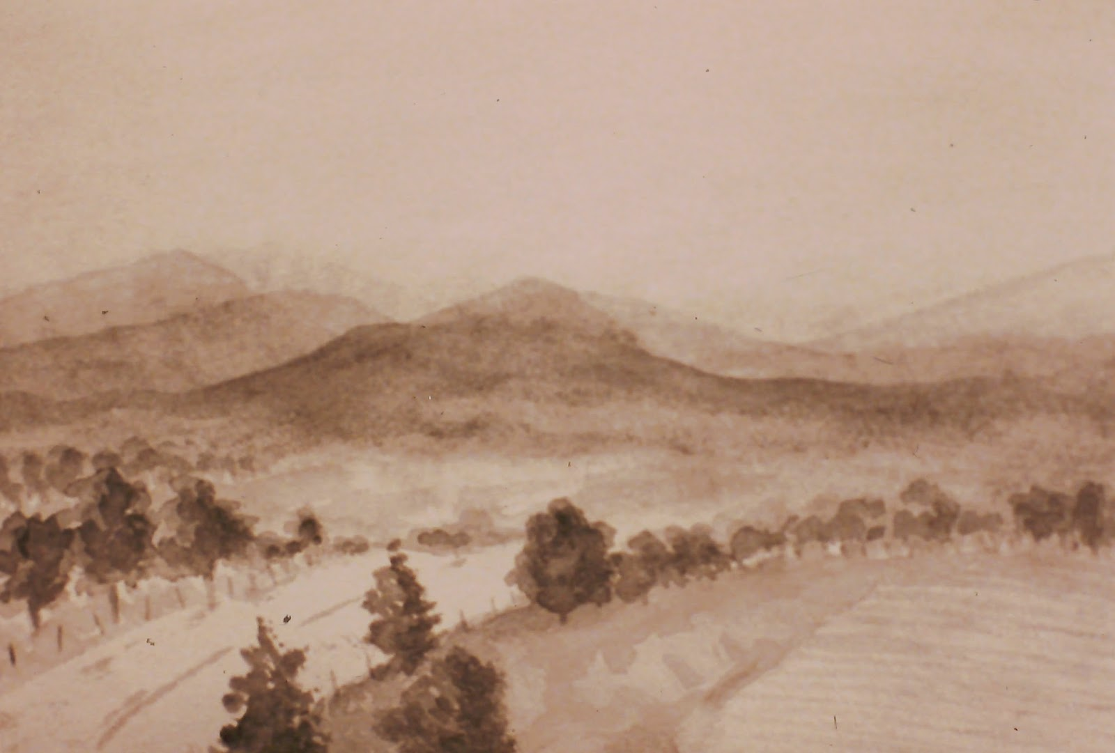 View of the Highlands, near Edzell, Angus, Scotland  10x14 inches. Watercolor on paper, c. 1992.  In a private collection in Fresno, California