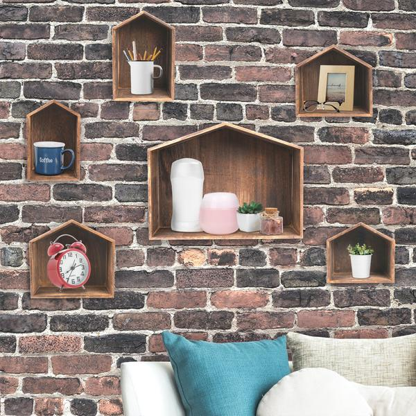 Shop the Wooden House-Shaped Wall Storage Shelf Hanging Rack - Set of 7 at NileCorp.com