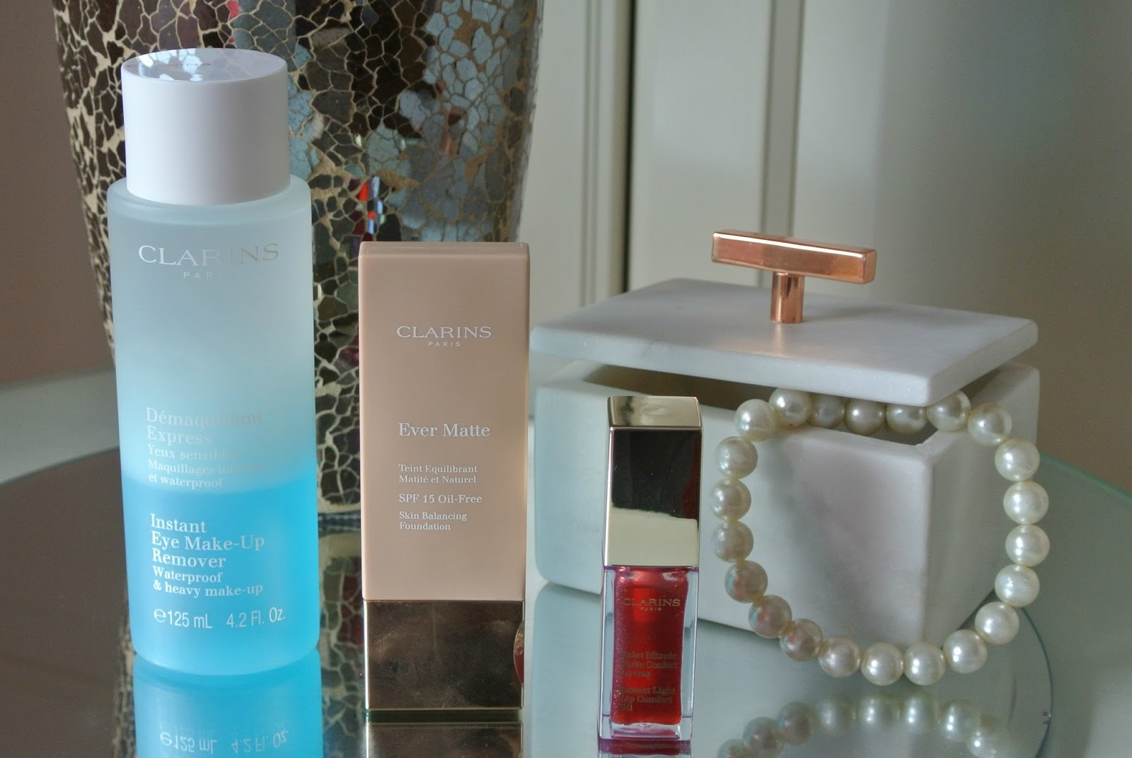 Clarins Beauty Haul Featuring Ever Matte Foundation, Instant Eye Make Up Remover Lip Comfort Oil Swatches and Review Image