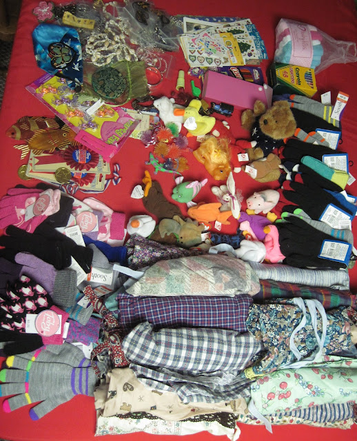 Sew Delightful donation of dresses and more for Operation Christmas Child shoebox fillers.