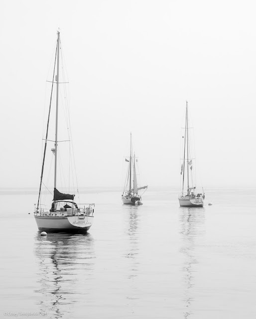 September 2017 Portland, Maine USA photo by Corey Templeton.Sticking with the current weather theme of perpetual fogginess, three boats floating off of the Eastern Promenade.