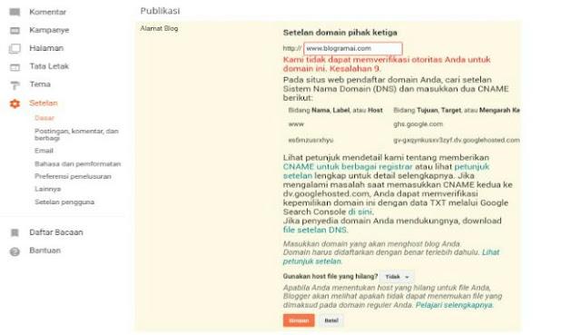 Error custom domain blogger