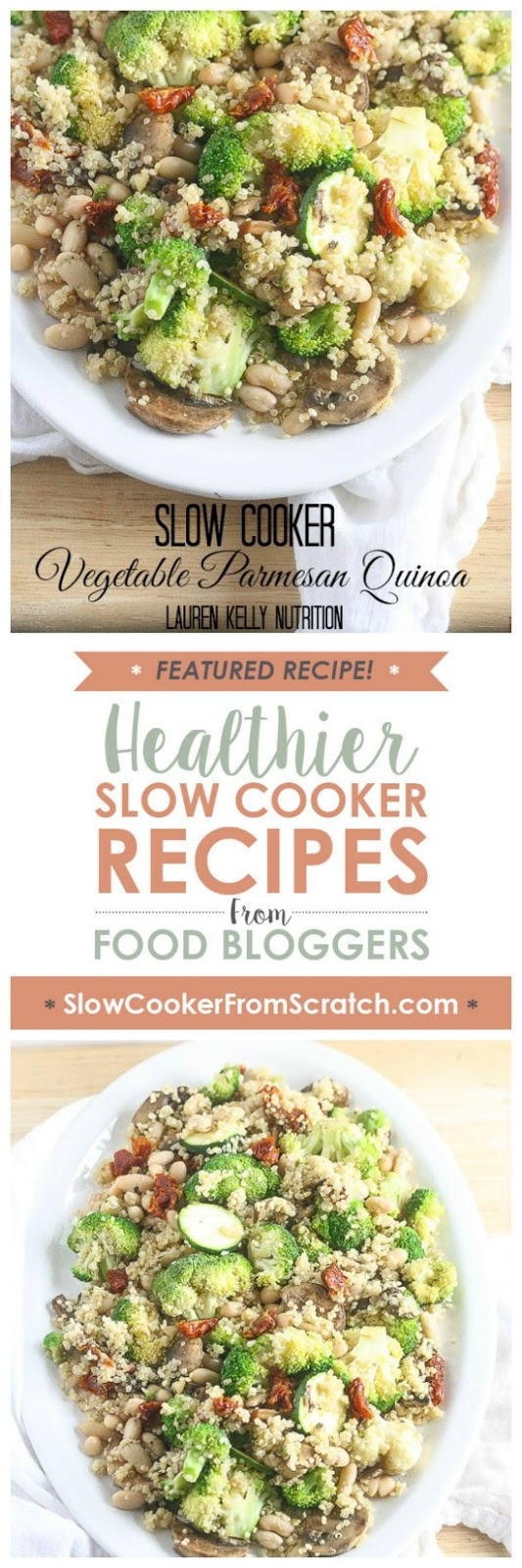 Vegetable Parmesan Quinoa in the Slow Cooker from Lauren Kelly Nutrition featured on SlowCookerFromScratch.com