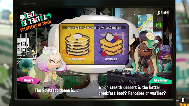 Splatoon 2 Splatfest Pancakes vs. Waffles Pearl Marina stealth dessert better breakfast food