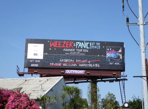 Weezer Panic at the Disco Tour 2016 billboard