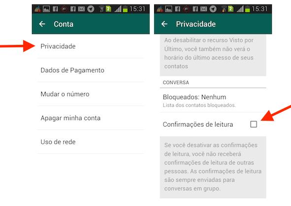 Desativando a confirmação de leitura do WhatsApp para Android