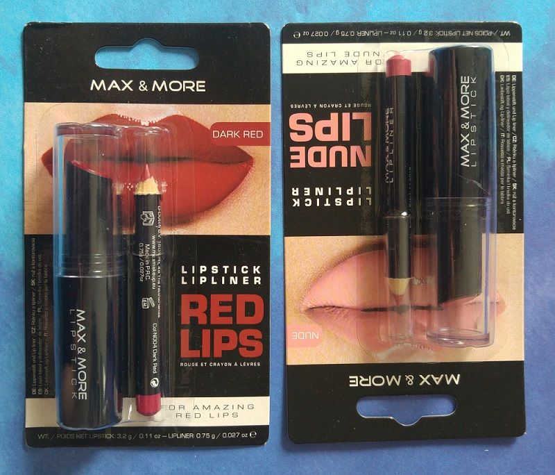 Lipstick & lipliner Max & More Dark Red & Nude Lips