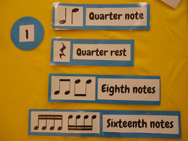 Rhythms bulletin board for elementary orchestra music class