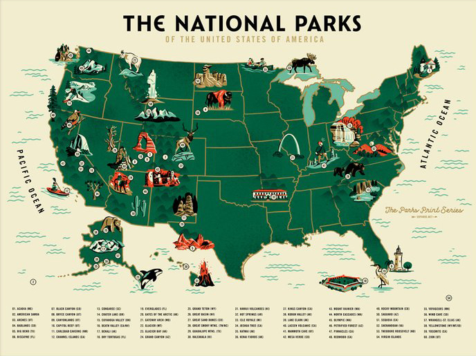 The Geeky Nerfherder: #CoolArt: \'US National Parks Map\' by ...