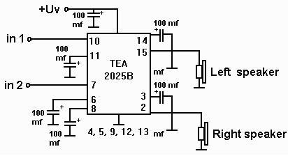 ELECTRONIC CIRCUIT: Упрощённый усилитель звука на TEA2025B