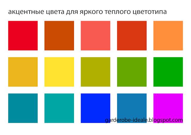 Акцентные цвета для яркого теплого цветотипа