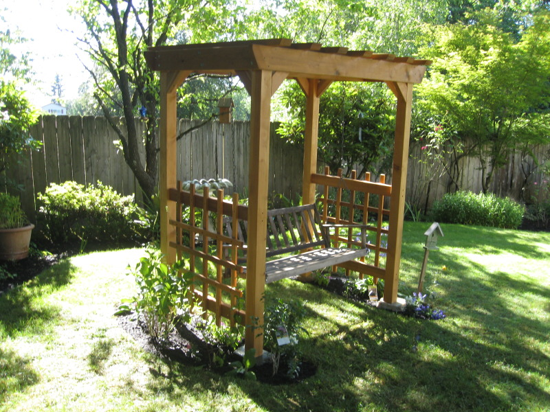 A Red Envelope Bench Swing Arbor
