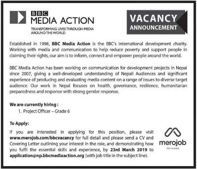 BBC Media Action Nepal Vacancy Notice for Project Officer