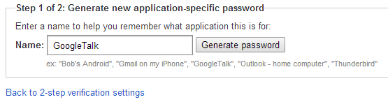 Generate new Google application-specific password