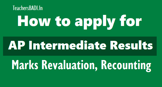 how to apply for ap intermediate results marks revaluation 2018,ap intermediate results marks recounting 2018,ap intermediate results marks reverification 2018