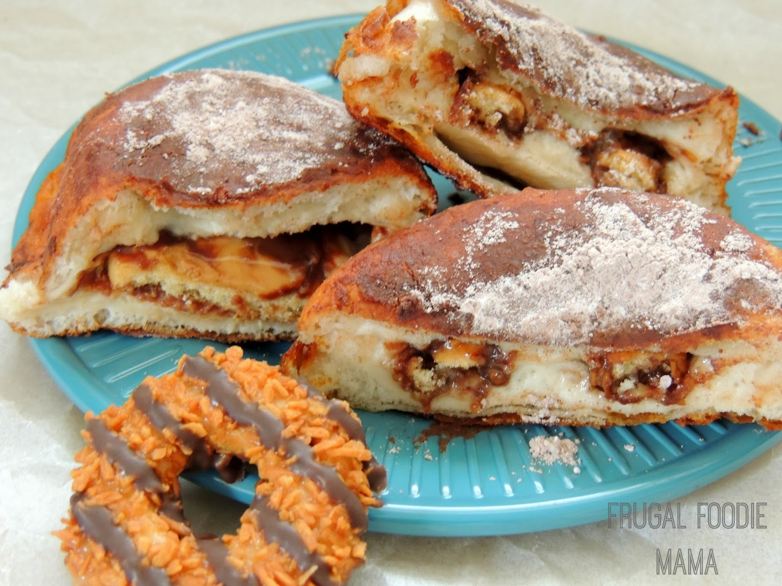 You only need 5 ingredients & just 20 minutes to make these decadent & easy to make Girl Scout Cookie Stuffed Donuts.
