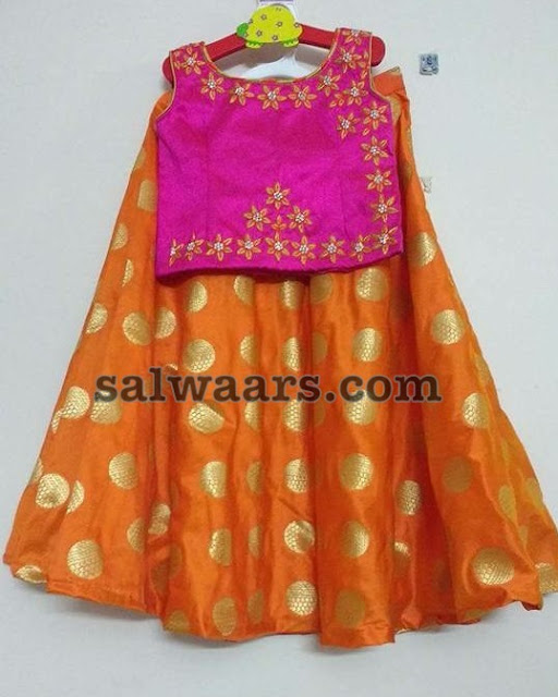 Orange Pink Benaras Crop Top