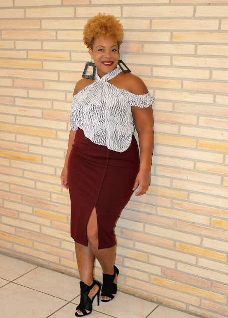 Tiered Ruffle top, Stretch Pencil Skirt