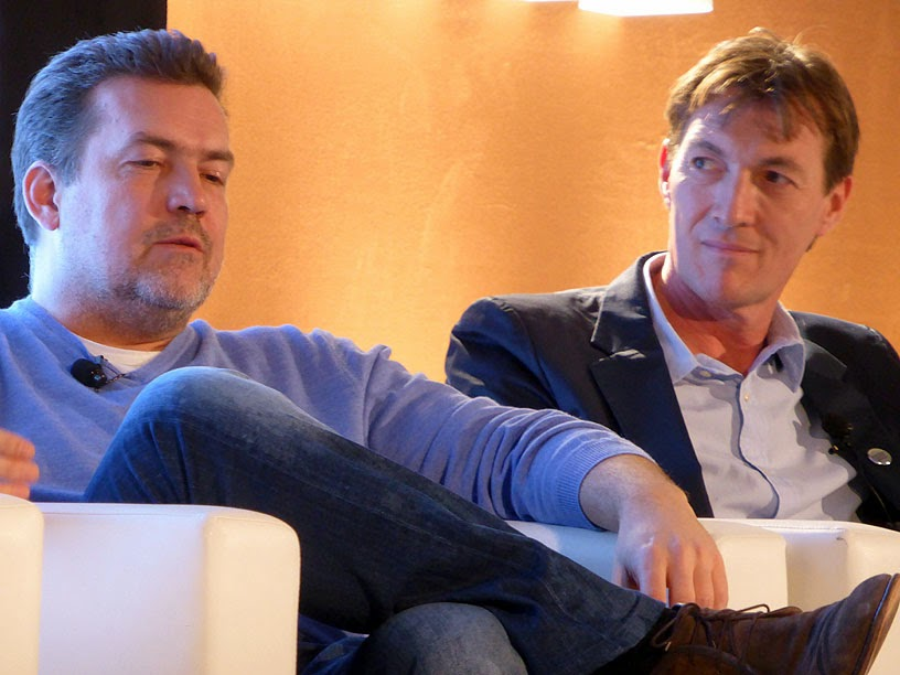 Midem 2014 : Thorsten Schliesche (Napster) et Brian Message (MMF) / photo S. Mazars