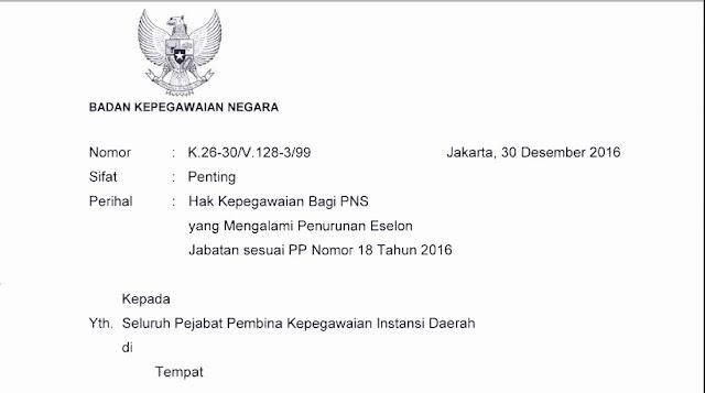 Ilustrasi Surat Kepala BKN tentang Hak-hak bagi PNS yang mengalami Penurunan Eselon Jabatan